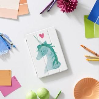 Protection iPad Mini Magie bleue de licorne avec le coeur