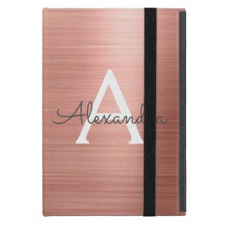 Protection iPad Mini Monogramme d'acier inoxydable d'or de rose de rose