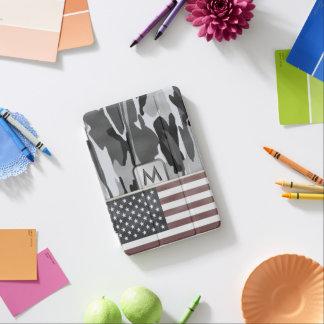 Protection iPad Mini Monogramme de Camo d'hiver de drapeau américain