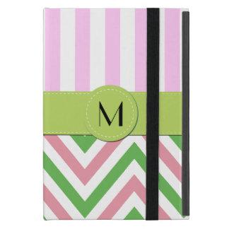 Protection iPad Mini Monogramme - motif de zigzag, Chevron - rose vert