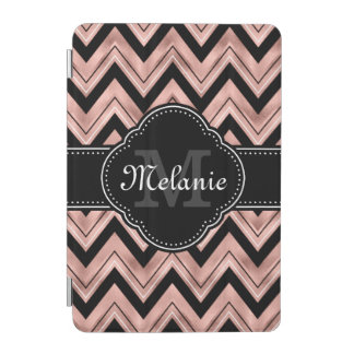Protection iPad Mini Monogramme rose de blanc de noir de motif de