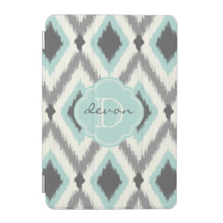 Protection iPad Mini Monogramme tribal gris et en bon état d'Ikat Chevr
