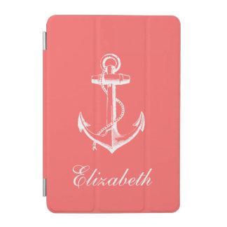 Protection iPad Mini Monogramme vintage de corail d'ancre