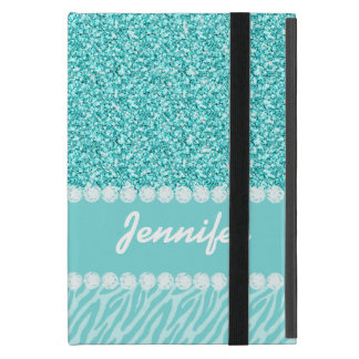 Protection iPad Mini Parties scintillantes Girly et turquoises, rayures