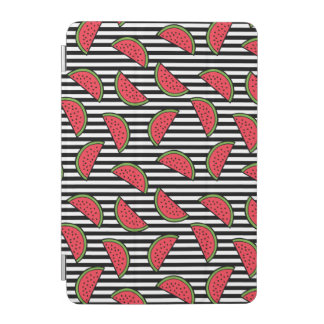 Protection iPad Mini Pastèque sur le motif noir et blanc de rayures