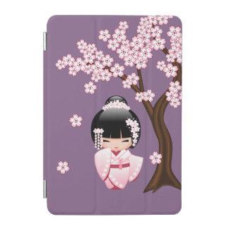 Protection iPad Mini Poupée blanche de Kokeshi de kimono - fille de