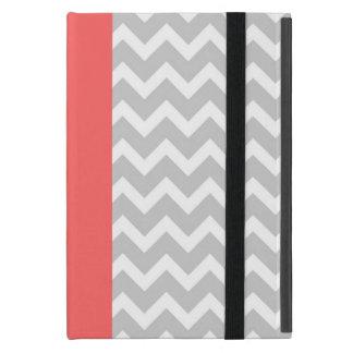 Protection iPad Mini Rayures modernes grises et de corail de Chevron