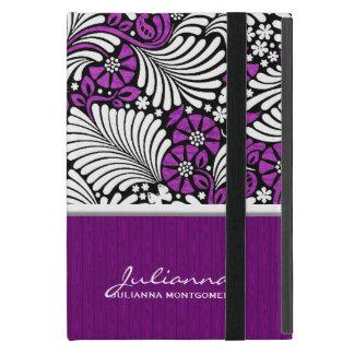 Protection iPad Mini Rétro dénommer floral et blanc violet