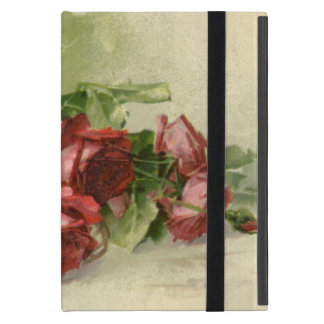 Protection iPad Mini Saint-Valentin vintage, roses rouges cramoisis