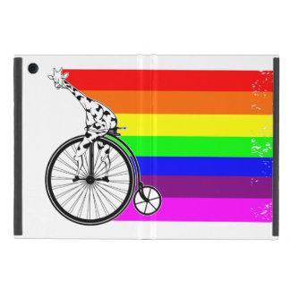 Protection iPad Mini Vélo d'arc-en-ciel de girafe