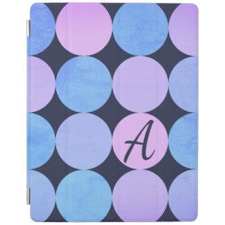 Protection iPad Monogramme pourpre et rose bleu de cercles