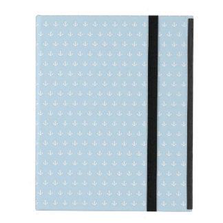 Protection iPad Motif avec les ancres blanches sur le bleu