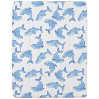 Protection iPad Motif de baleine bleue d'aquarelle
