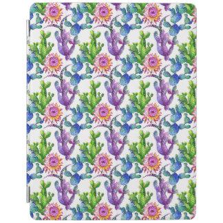 Protection iPad Motif de cactus de fleur sauvage d'aquarelle