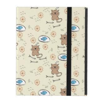 Protection iPad motif de chat et de poissons