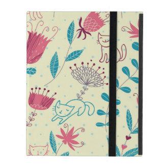 Protection iPad Motif floral avec des chats de bande dessinée