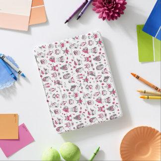 Protection iPad Motif gris rose de hiboux