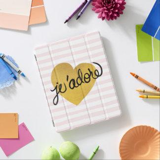 Protection iPad Noir de la citation | de J'adore et coeur d'or