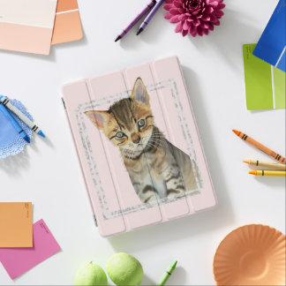 Protection iPad Peinture tigrée de chaton avec le cadre de marbre