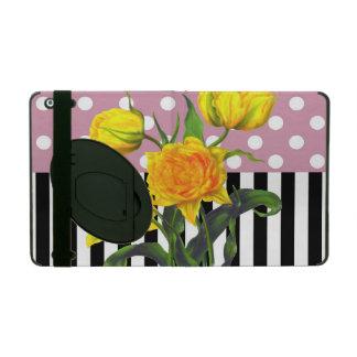 Protection iPad point de polka jaune de tulipe