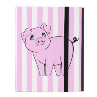 Protection iPad Porc de bébé, petit porcin mignon - noir rose