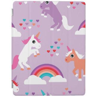 Protection iPad Pourpre mignon d'arc-en-ciel de licorne