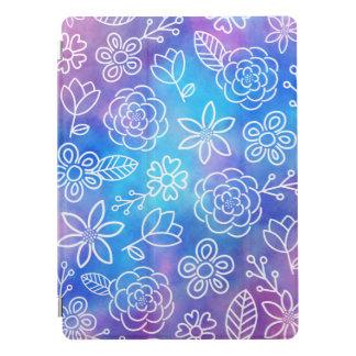 Protection iPad Pro Aquarelle bleue et pourpre avec les fleurs