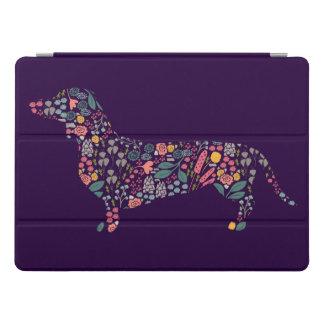 Protection iPad Pro Art floral d'aquarelle de motif de chien de
