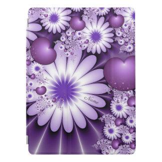 Protection iPad Pro Chute dans le nom de fleurs et de coeurs d'abrégé