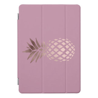 Protection iPad Pro Cover ananas tropical de feuille d'or rose claire