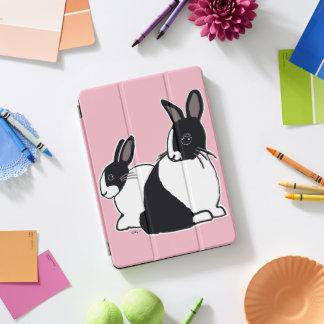 Protection iPad Pro Cover Couverture rose d'iPad de lapins néerlandais noirs