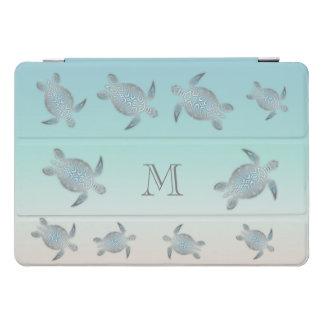 Protection iPad Pro Cover Monogramme argenté de style de plage de tortues de