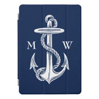 Protection iPad Pro Cover Monogramme blanc vintage de bleu marine de corde
