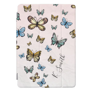 Protection iPad Pro Cover Monogramme. Papillons d'aquarelle