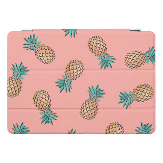 Protection iPad Pro Cover motif tropical d'ananas d'or de faux d'été mignon
