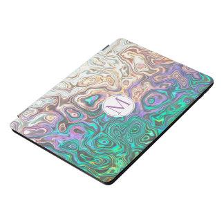 Protection iPad Pro Cover Réflexions roses bleu vert argentées de monogramme