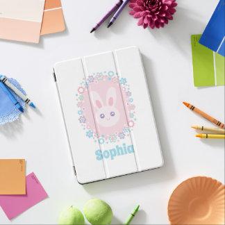 Protection iPad Pro Fleurs roses Girly mignonnes de pastel de lapin de