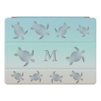 Protection iPad Pro Monogramme argenté de style de plage de tortues de