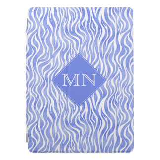 Protection iPad Pro Monogramme bleu du motif | de zèbre d'aquarelle de