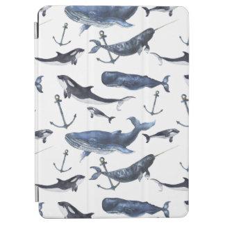 Protection iPad Pro Motif de baleine et d'ancre d'aquarelle