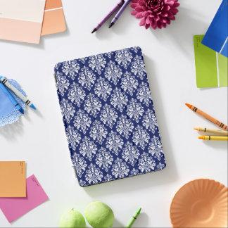 Protection iPad Pro Motif élégant de damassé de bleu marine et de