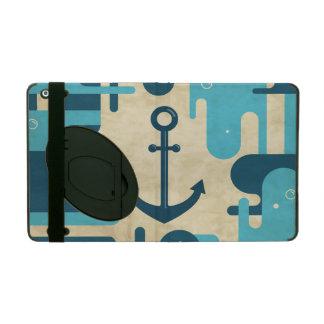 Protection iPad Rétro conception nautique turquoise d'ancre