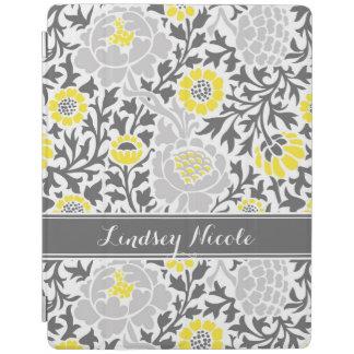 Protection iPad Rétro monogramme floral jaune et gris de damassé