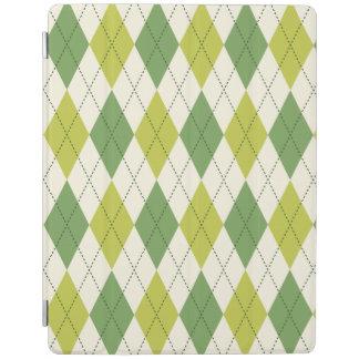 Protection iPad Rétro motif à motifs de losanges géométrique vert