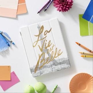 Protection iPad Tour Eiffel avec l'écriture d'or