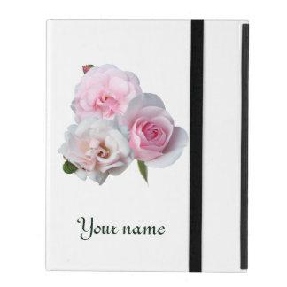 Protection iPad Trois roses roses. Ajoutez votre texte