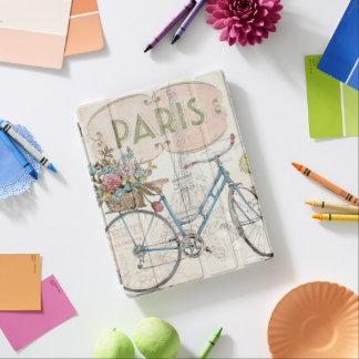 Protection iPad Vélo de Paris avec des fleurs