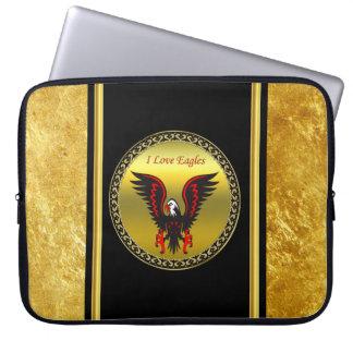 Protection Pour Ordinateur Portable Aigle noir et rouge de présentation horizontale