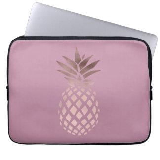 Protection Pour Ordinateur Portable ananas tropical de poussin d'or rose élégant