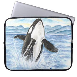 Protection Pour Ordinateur Portable Aquarelle ouvrant une brèche la baleine d'orque